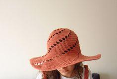 Crochet Summer Brim Hat Salmon Pink Dahlia Peach Sea Breeze Rowan Handknit Cotton Accessory Ocean Sky Beach Sun by dodofit on Etsy