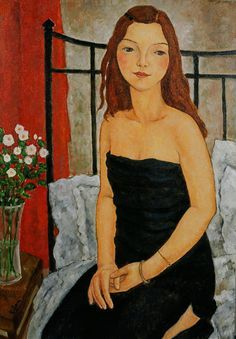 by Jian Xi Pang (b1949) - Girl in Black Dress 2005