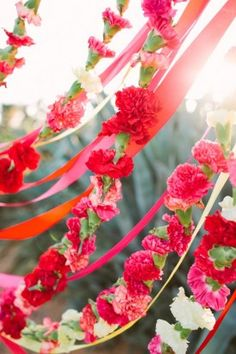 red and pink flower garland