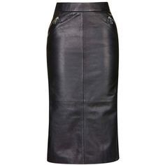 Topshop Leather Midi Skirt ($180) ❤ liked on Polyvore featuring skirts, topshop, mid calf black skirt, black midi skirt, knee length leather skirt and midi skirt