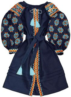 Navy Blue Linen Geometric Dress - Ukrainian Ethnic Folk Dress Vyshyvanka - kaftan abaya robe - Authentic Boho Custom Made Boho Loose dress Bohemian Style Dresses, Boho Dress, Navy Dress, Ukrainian Dress, Geometric Dress, White Embroidered Dress, Mode Boho, Folk Fashion, Bleu Marine