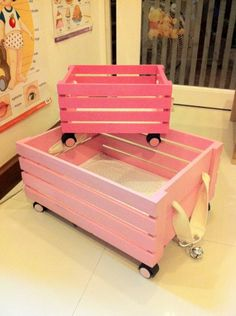 DIY kid's trolley.great for toys...no site opened on this but looks pretty straight forward to reinforce the bottom of the crate, paint, and add coasters. Great idea and inexpensive.