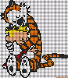 Calvin and Hobbes perler bead pattern... I could possibly use this with small crochet squares and makes a blanket