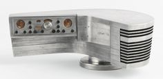 Raymond Loewy A RARE MODEL FOR A RADIO CONSOLE with the original Hallicrafters paper label aluminum and painted brass 3 7/8  x 10 5/8  x 6 in  1948