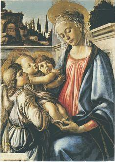 SANDRO BOTTICELLI. Madonna con il Bambino e due angeli. E' un dipinto a tempera su tavola,di dimensioni 100x71 cm. E' datato 1468-1469, e si trova oggi nel  Museo nazionale di Capodimonte a Napoli.
