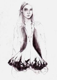 fashion illustration, pencil drawing, cedric rivrain