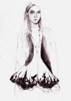 fashion illustration, pencil drawing, cedric rivrain