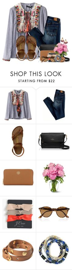 """""""Attention all shoppers!! RTD"""" by flroasburn ❤ liked on Polyvore featuring WithChic, American Eagle Outfitters, Birkenstock, Kate Spade, Tory Burch, J.Crew and Ray-Ban"""