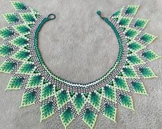 Huichol beaded necklace Necklace collar for woman Fringe necklace Emerald jewelry Beaded jewelry Blue necklace Dangle necklace Beadwork Beaded Necklace Patterns, Beaded Jewelry Designs, Seed Bead Jewelry, Bead Jewellery, Jewelry Making Beads, Diy Jewelry, Beading Tutorials, Beading Patterns, Henna Patterns