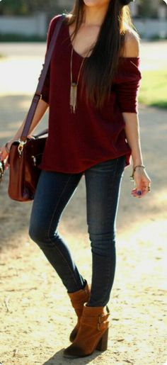 "✔OUTFIT: ✔The Sweater Life Knit (Bordeaux Drama, Sep""14), ✔Skinny Leg Jeans, ✔Long-chain Necklace, ✔Dusty Blue Nails"