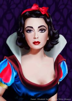 An other Fanart of Disney ; the beautiful Elizabeth Taylor as Snow White. Elisabeth Taylor as Snow White Disney Princess Snow White, Snow White Disney, Dark Disney, Disney Princess Art, Disney Princesses, Disney Artwork, Disney Fan Art, Disney Girls, Disney Love