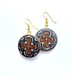 Hearts on Fire - Flat Earrings Fire Heart, Polymer Clay Jewelry, Hearts, Hand Painted, Drop Earrings, Jewellery, Flat, Silver, Jewels
