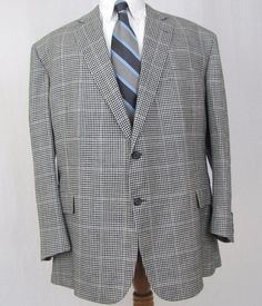 Brooks Brothers Madison 1818 Sport Coat 52R Houndstooth Silk Linen Vented Blazer #BrooksBrothers #TwoButton