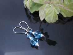 Aquamarine Swarovski Crystal Earrings with by IBKcreations on Etsy, $24.00