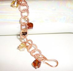 Copper Charm Bracelet with Glass Beads in Neutral by BlissfulVine