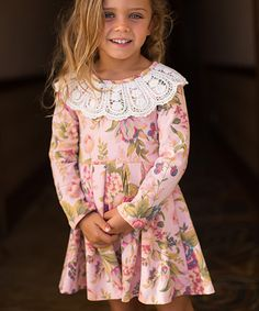 Look at this Pink Floral Damask Crochet-Detail Ava Dress - Toddler & Girls on #zulily today!