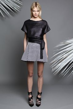 Jay Ahr | Resort 2015 | 14 Black belted short sleeve top and monochrome patterned mini skirt