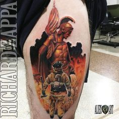 Saint Florian and Firefighter Tattoo by zuluDROOG on DeviantArt – virgo constellation tattoo Ems Tattoos, Body Art Tattoos, Sleeve Tattoos, Tattoo Drawings, Hand Tattoos, Firefighter Decals, Volunteer Firefighter, Fireman Tattoo, Firefighter Tattoos