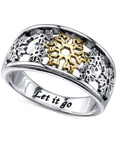 Disney Open Work Snowflake Ring in Sterling Silver and 14k Gold Plating