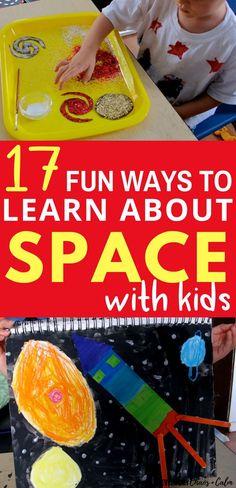 17 Fun Space Crafts and Activities for Preschoolers - Educational crafts Science Activities For Toddlers, Planets Activities, Lesson Plans For Toddlers, Science Experiments Kids, Lessons For Kids, Science Lessons, Science For Kids, Science Ideas, Camping Activities