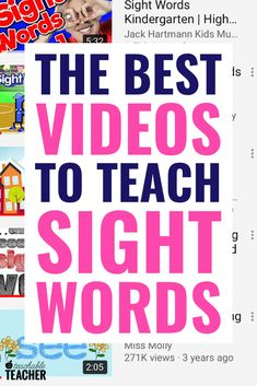 Whether teaching preschool, kindergarten or first grade students, these free sight word videos are a huge hit. We get so much practice with words from frys and dolch lists that my student's reading fluency improves while we're having fun! Preschool Sight Words, Teaching Sight Words, Sight Word Practice, Sight Word Activities, Teaching Phonics, Preschool Learning, Phonics Rules, Kindergarten Sight Words List, Teaching Resources