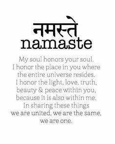 The power of Namaste//sanskrit words how to write namaste - Frases Zen, Frases Yoga, Sanskrit Symbols, Sanskrit Words, Sanskrit Tattoo, Namaste Tattoo, Ahimsa Tattoo, Namaste Symbol, Buddhist Symbols