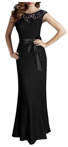 Elegant Sleeveless Halter Black Lace Dress