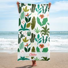 Tropical Leaves and Cactus Personalized Beach Towel by Olea Fashion