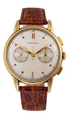 38 mm, dreiteiliges, gestuftes Gehäuse in 18 kt Gelbgold, Nr. 6889621. Hochwertiges LONGINES Kaliber 13ZN, Nr. 1396889. Großer LONGINES Chronograph mit dem...