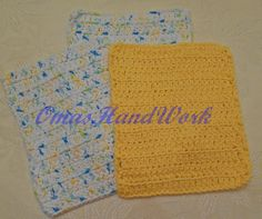 A set of 3 hand crocheted dish cloths made with Peaches & Cream 100% cotton, in sunshine and Happy Go Lucky. There is 1 yellow sunshine and 2 in the multi Happy go Lucky which is white with green, blue and yellow accent.  Each measuring approximately 6 inches X 7 inches. They are wonderful as spa washcloths or kitchen dishcloths and even soft enough for use on babies. They make a unique and versatile gift for new mom, graduation, house warming, etc.  This is a handmade item, and yours may...