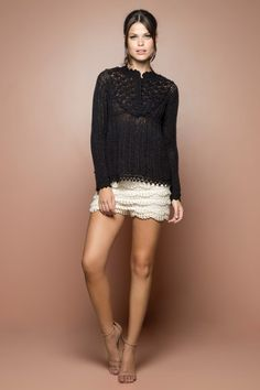 Black Annecy Crochet Top - Vanessa Montoro USA - vanessamontorolojausa