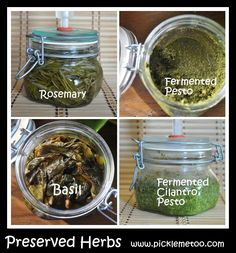 Preserve your herbs by fermenting them. Rosemary, basil, fermented pesto and cilantro pesto. 19 grams is roughly equal to 1 T. Probiotic Foods, Fermented Foods, Kombucha, Cilantro Pesto, Basil Pesto, Conservation, Herb Farm, Nourishing Traditions, Preserving Food