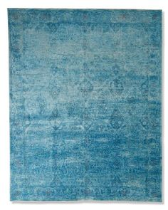 Arabesque Haze Hand-Knotted Rug, 6' X 9', Deep Aqua