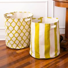 See Jane Work - Canvas Basket.  I must make these for my kids in each of their colors for laundry.  I would like to find a way to attach a little mesh bag to the side for their socks that is removable so it can be thrown in the wash as well.