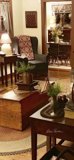 Champion acquired elegant country home decor he said Primitive Living Room, Primitive Homes, Country Primitive, Prim Decor, Country Decor, Primitive Decor, Primitive Furniture, Primitive Christmas, Classic Home Decor
