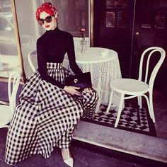 large gingham prints are all over the Paris catwalks. #hijab #hijabfashion…""