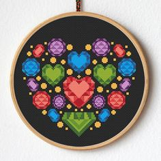 Modern geometric cross stitch pattern Title: Gems heart This PDF counted cross stitch pattern available for instant download. Skill level: Beginner. Pattern size (without white borders around): stitches: 85h x 92w ready design: 6.1h x 6.6w for 14-count fabric. You can frame it in 8