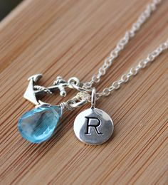 December Blue Topaz Initial Necklace - Anchor Charm - Sterling Silver. $55.00, via Etsy.  My birthday is November, but this is REALLY cute.