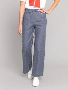 pantalon ylény bleu et blanc à fines rayures | agnès b. Parachute Pants, Pajama Pants, Pajamas, Collection, Fashion, Stripes, Woman, Pjs, Moda