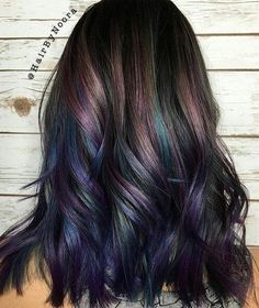 50 Purple Hair Color Ideas for Brunettes You Will Love in Purple hair color ideas for brunettes is in, ladies! When work comes to hair color ideas which can truly flatter any skin tone, purple hair colors are. Hair Color And Cut, Cool Hair Color, Oil Slick Hair Color, Colored Hair Ends, Colored Hair Streaks, Bright Colored Hair, Subtle Purple Hair, Hidden Hair Color, Purple Wig