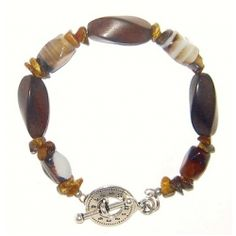 Brown Tiger Eye, Wood and Agate Men's Bracelet at angiesheldesigns.com