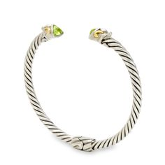 Peridot Sterling Silver Twisted Cable Bangle with 18K Gold Accents | Cirque Jewels