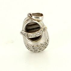 Estate 18 Karat White Gold Diamond Baby Shoe Charm Pendant Fine Jewelry Used $625