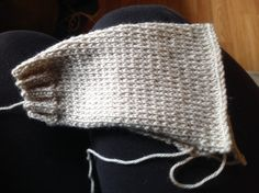 Third attempt at sleeve for Katie's sweater. I think I finally got it. Now to make another one the same size. (Sigh, I can't seem to follow a pattern correctly)