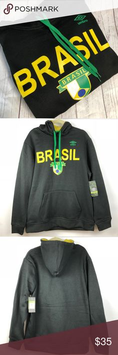 "Brasil Soccer Futbol Club Sweatshirt Hoodie Thanks for stopping by at OneManlyShop!!!  Item: Brasil Soccer Futbol Club Sweatshirt Hoodie Men's Large L Umbro New Tags   Condition: Brand new with tags.   Please refer to images for more details about this item. If you have any questions please feel free to ask. All measurements are taken with the item laying and are approximate.   Armpit to Armpit: 26""  Shoulder to Hem: 31"" Umbro Shirts Sweatshirts & Hoodies"