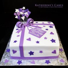 Purple/White Cake with Stars and Hearts