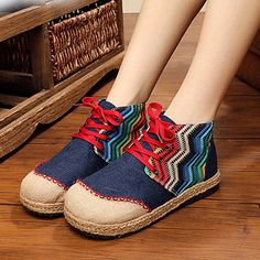 Rainbow Color Match Vintage Ankle Lace Up Boots For Women