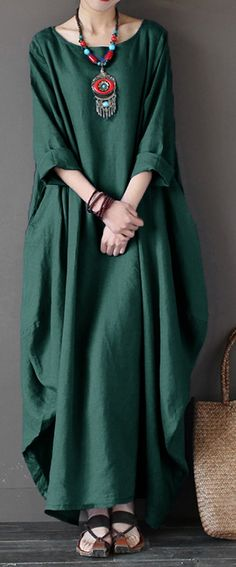 Vintage Women Solid Sleeve Loose Robe Dress For Women – Linen Dresses For Women Trendy Dresses, Casual Dresses, Fashion Dresses, Fashion Clothes, Boho Fashion, Vintage Fashion, Womens Fashion, Fashion Fall, Dress Shirts For Women