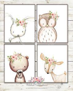 Boho Woodland Animal Set / Blush / 8x10 / Floral / Tribal / Baby Girl Nursery / Printable / Baby Shower Decor / Bohemian / Bedroom Wall Art by PolishedCelebrations on Etsy