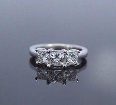 $2,349 ZEI 14K White Gold 3 Princess Cut Diamond Engagement Ring Band - Estate Jewelry